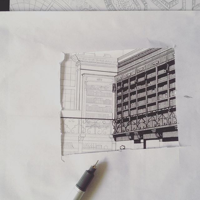 It's sort of operating room measures on my desk when i'm working. #workinprogress #penandink #pencils #ghosts #rome #architecture #athanasiuskircher