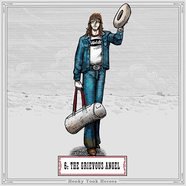 """Honky Tonk Hero N.6: The Grievous Angel. From the song """"Return of the Grievous Angel"""". - By Gram Parsons, 1973. - """"Don't you scratch my itch sweet Annie Rich and welcome me back to town, come out on your porch or I'll step into your parlour and I'll show you how it all went down. Out with the truckers and the kickers and the cowboy angels, and a good saloon in every single town. - And I remember something you once told me and I'll be damned if it did not come true. Twenty thousand roads I went down, down, down and they all lead me straight back home to you. 'Cause I headed West to grow up with the country, across those prairies with the waves of grain and I saw my devil, and I saw my deep blue sea, and I thought about a calico bonnet from Cheyenne to Tennessee. - We flew straight across that river bridge, last night half past two The switch-man wave his lantern goodbye and good day as we went roling through. Billboards and truck stops pass by the Grievous Angel and now I know just what I have to do. - And the man on the radio won't leave me alone he wants to take my money for something that I've never been shown. The news I could bring I met up with the king on his head an amphetamine crown, he talked about unbuckling that old bible belt and lighted out for some desert town."""" - 🎸🍻💔🚚 #honkytonkheroes #countrymusic #gramparsons #cutout #1973 #truckdriving #grievousangel #peterbilt #music #penandink"""