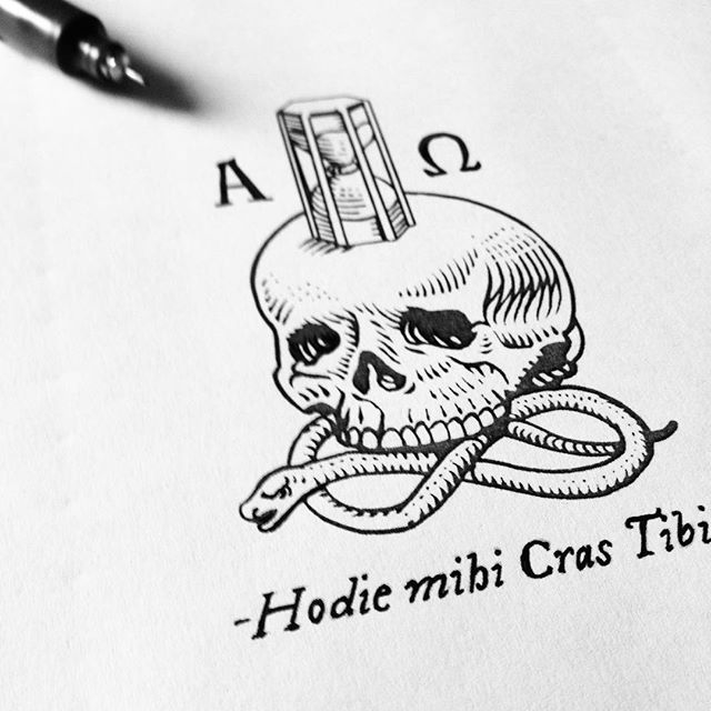 "Ex-libris in progress for ""Ghosts of Rome"". Inspired by an original Memento Mori from the 17th century. #hodiemihicrastibi #exlibris #ghostsofrome #baroque #penandink #engraving #mementomori #skull #hourglass #workinprogress #17thcentury 💀⌛️🐍"