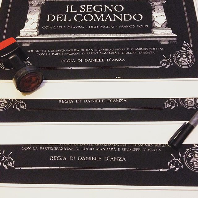 "Just received some lovely ""Il Segno del Comando"" screenprints from the guys at @corpoc . Now it's time to stamp, number and sign 'em, then they'll be available. More shots soon, stay tuned. #screenprint #posters #penandink #illustration #stamping #signigs #ilsegnodelcomando #thriller #occult #gothic #rai #70s #show #TV #print #ugopagliai #carlagravina #francovolpi #owls"