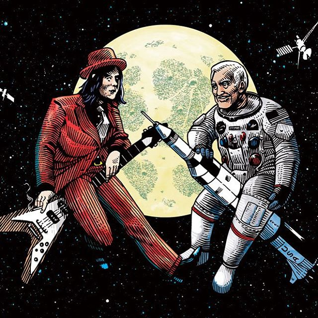 #tbt to when in 2012 I started working for @wireditalia with this weird illustration for an odd-coupled mutual interview between Jack White and Buzz Aldrin. Art direction and idea by the lovely @la_dani_ , fun times. #jackwhite #buzzaldrin #interview #space #moon #flyingv #apollo11 #penandink #illustration #throwbackthursday #wired
