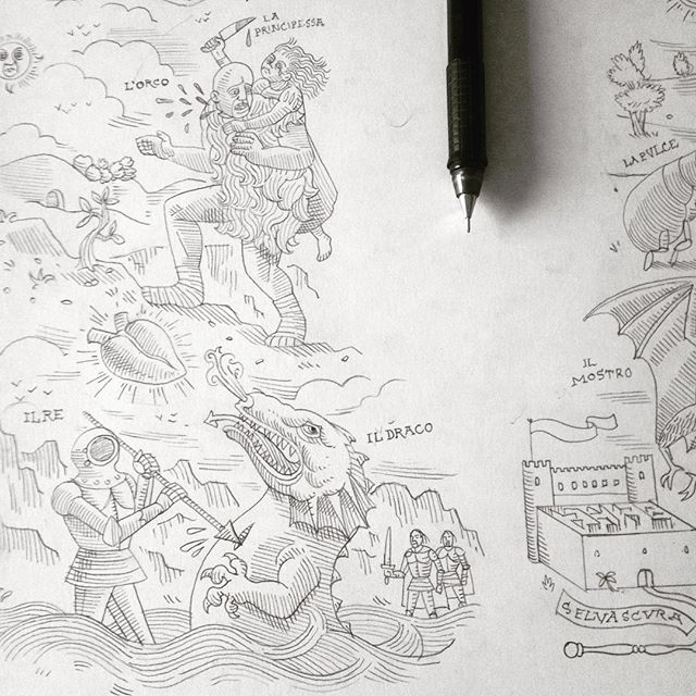 "Work in progress for a poster inspired by the film ""The Tale of Tales"", based on an italian anthology of 17th century fairy tales. Working on the 17th Century Popular woodcut prints' aestethics to picture the film's places, scenes and characters and give a nice look and feel to the background. #ilraccontodeiracconti #taleoftales #woodcut #print #illustration #poster #wip #pencil #17th #century #old #matteogarrone #film #movie #italy"