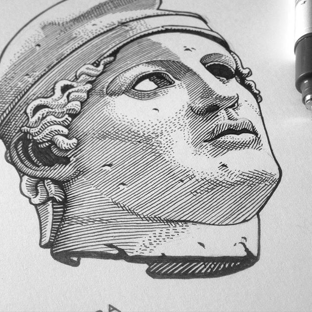 Working on a little Christmas thing. #mithra #solinvictus #pagan #festivities #illustration #statue #xmas #christmas #engraving #classic #wip #workinprogress 🌞
