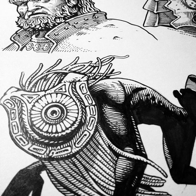 Still working on the Zelda commission. #shadowbeast #zelda #ganondorf #zant #wip #penandink #nintendo #game #zelda30thanniversary #illustration #detail