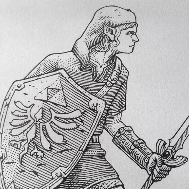 Work in progress for a Zelda commission. #Link #rpg #Zelda #fantasy #penandink #workinprogress #illustration #nintendo #game