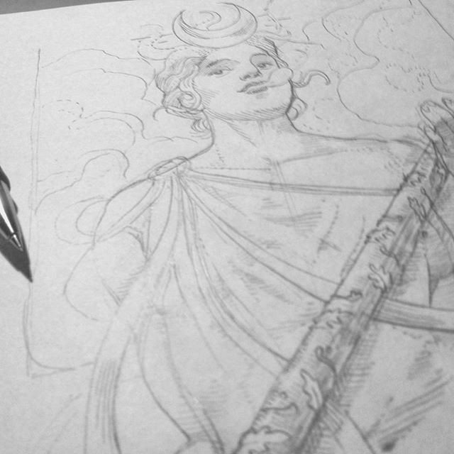 Some work in progress for something new to ride with... #wip #sketch #board #smoke #venus #deco #pencils #rough #goddess