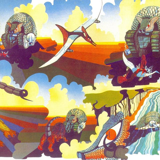 Tarkus gatefold's inner sleeve artwork. Its weird animals/warmachines always fascinated me. I love ELP, a lot. RIP Keith Emerson #elp #emersonlakeandpalmer #tarkus #rip #keithemerson #progressive #rock