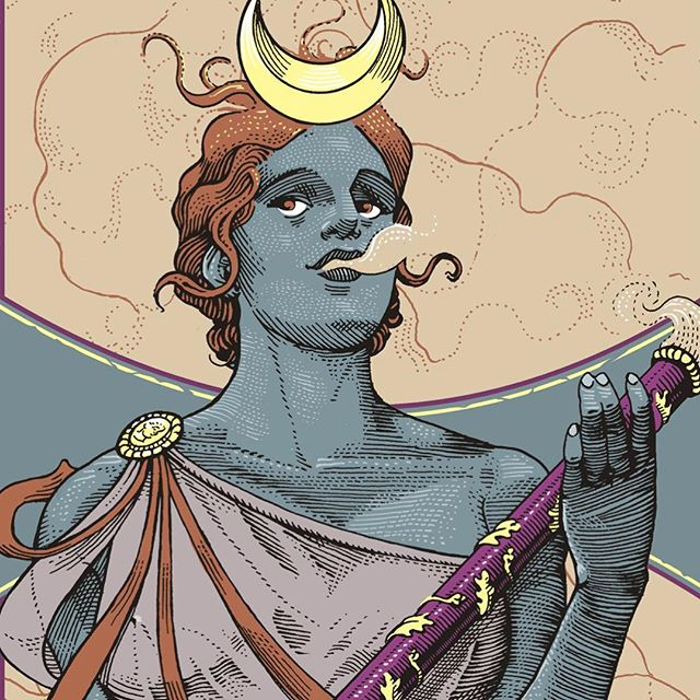 Coloring process for a snowboard deck. Work in progress for @technine_europe #preview #illustration #penandink #coloring #artnoveau #detail #goddess #bong #stoner #wip #deck #crescent #smoke #weedian #technine