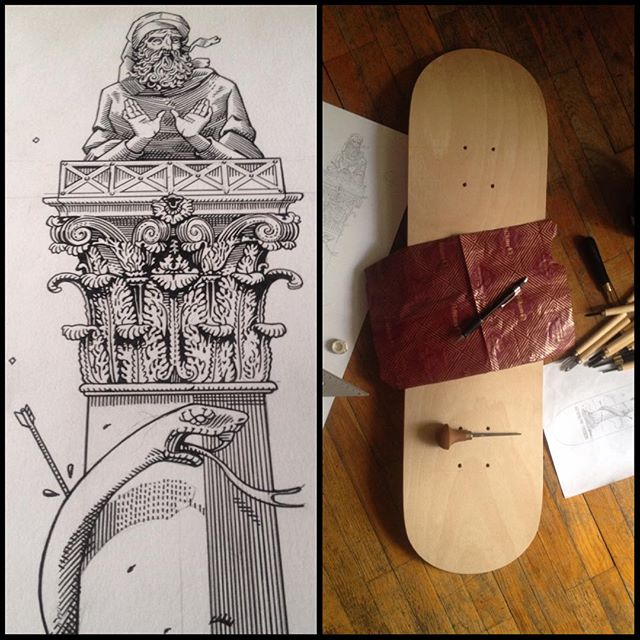 Work in progress for my entry at the Skateboards Confluence exhibition in Milan. #wip #stylite #oldtestament #bible #carving #wood #wood #fineart #saint #engraving #snake #skateboard #skateboardsconfluence #workinprogress #illustration