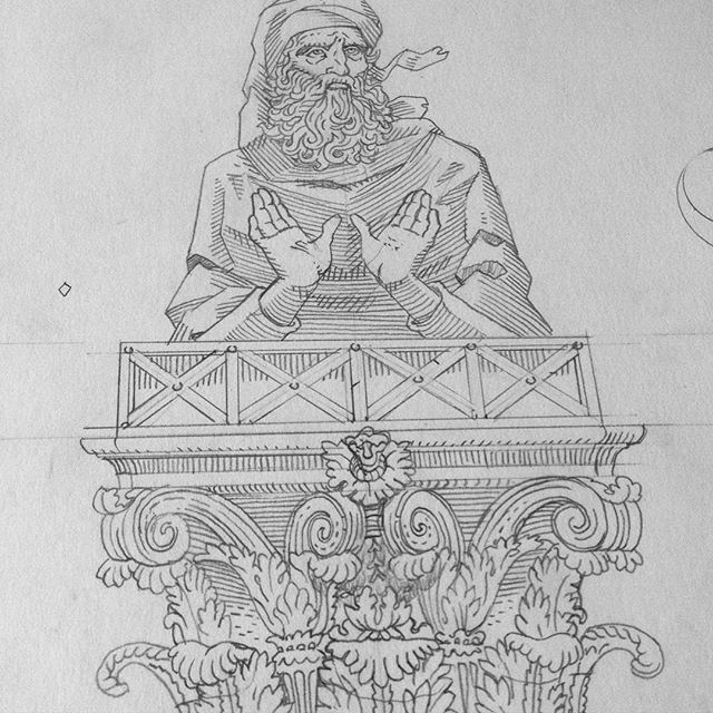 Work in progress for an incoming exhibition. This guy is a stylite saint, and I will keep you posted about him. #wip #stylite #saint #pillar #corinthian #capital #pencil #sketck #exhibition #engraving #oldtestament #bible #syria #illustration