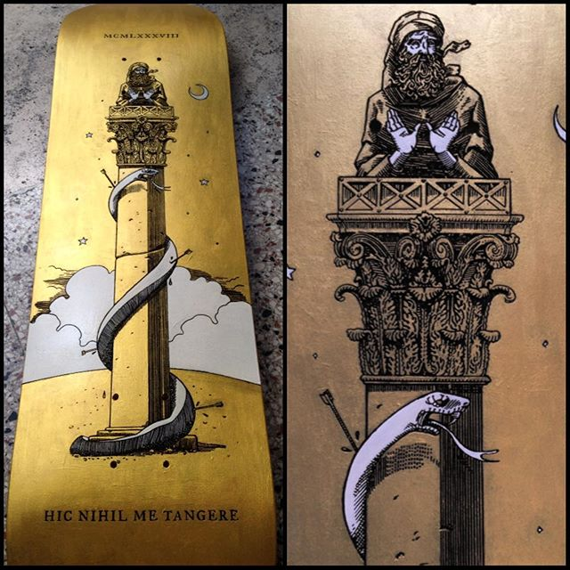 "And that's a wrap. The board for ""Skateboards Confluence"" exhibition is finished and ready to be shipped at the gallery in #Milan 🍻 #skateboard #woodcut #engraving #fineart #stylite #saint #hermit #snake #gold #byzantine #paint #bible #oldtestament #crescent #illustration #skateboardsconfluence #art"