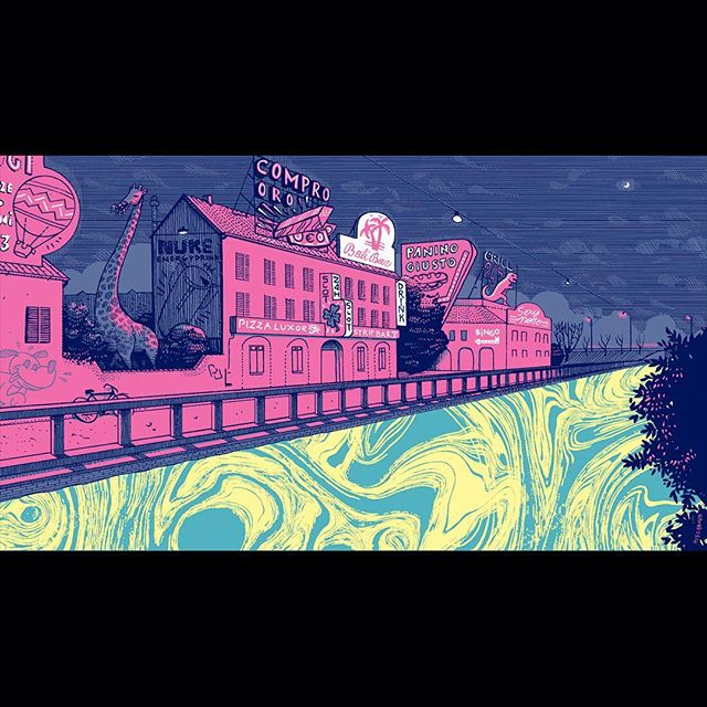 My illustration for Giulia Cavaliere's article about the psychedelic suburbs of northern Italy is online.non @thetownermagazine . Art direction by @olimpiazagnoli Powered by @moleskine_world 📕#Illustration #penandink #giuliacavaliere #moleskine #illustration #suburbs #neon #acid #vaporwave #psychedelic #marbled #pink #giraffe #signs #fog