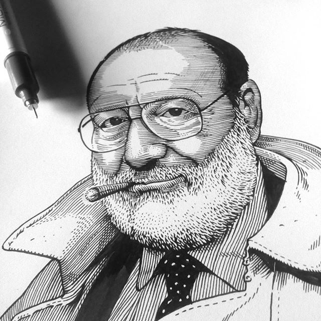 Umberto Eco's portrait in progress. @visionar_agency #umbertoeco #portrait #editorial #illustration #penandink #linework #wip