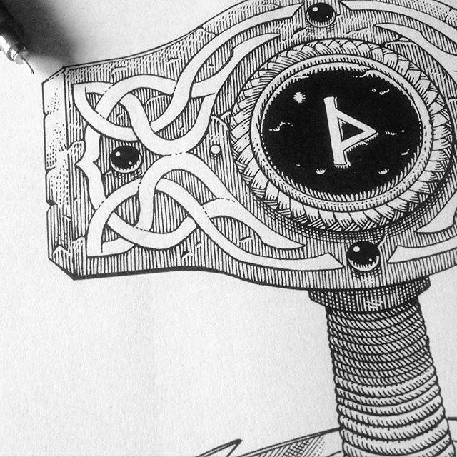 Howdy! I'm back on Instagram, sorry for the lack of updates, a few nice projects are on the way. Here's a new #workinprogress to re-start with: Thor's hammer, #Mjöllnir, for an upcoming #cover #artwork .⚡️ #illustration #penandink #wip #mythology #thor #mjollnir #hammer #norse #vikings #god #metal #rune #thunder #linework #blackandwhite #music
