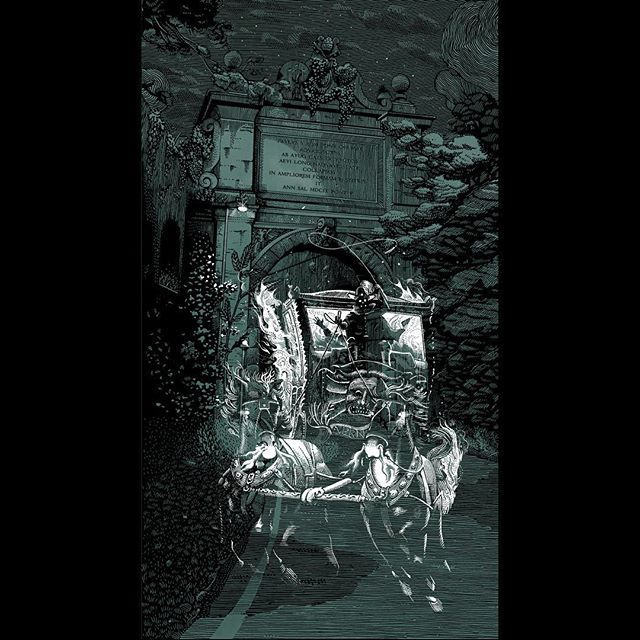 "The fourth ghost of roman folklore is finished and now you gladly can pinch-zoom in on Instagram.  The ghost coach that every night on the 7th of january drags Olimpia Pamphilj's evil soul to hell, picking it at her mansion on Via Aurelia right aside the arch, once named Via di Tiradiavoli (""dragging devils road"" literally) because of its sinister fame. 🏇🏇💀🔥 #GhostsOfRome #ghosstories #Rome #folklore #Olimpia #Pamphili #Pimpaccia #aurelia #illustration #architecture #arch #tiradiavoli #devils #spooky #penandink #linework #door #roma #marcellocrescenzi #ink #monument #illustration #artwork #architecture #engraving #landscape #occult #nocturnal #horses #coach #flames #engraving #ghosts"