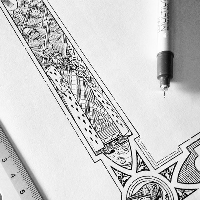 #workinprogress detail of a #frame for a new thing. ✒️📐 #middleages #romanesque #gothic #linework #engraving #woodcut #crusaders #illustration #detail #penandink #blackandwhite #artwork #knights #king #decoration #ornaments #marcellocrescenzi #detail