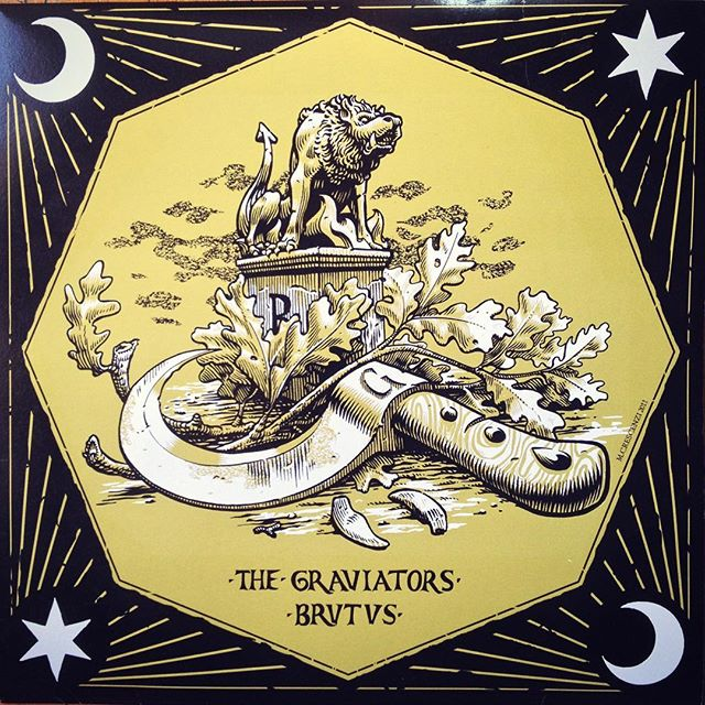 #throwbacthursday to #2011 when i designed the cover artwork for @brutusband_official and #graviators split LP. It was a fun one and i loved starting experimenting with thinner #linework . - #marcellocrescenzi #tbt #illustration #woodcut #hellhound #druids #artwork #rock #music #vinyl #record #penandink #leaves #occult #pruningknife #esoteric #crescent #stoner #psychedelic #sweden #fangs #statue #decoration #frame #stars #ink