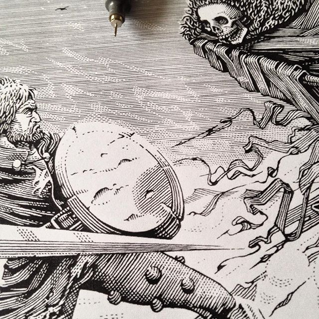 Another #workinprogress #sneakpeek shot for the project i'm currently on. - #illustration #wip #penandink #blackandwhite #artwork #linework #etching #engraving #death #reaper #grim #gothic #middleages #knight #sword #fantasy #folklore #art #marcellocrescenzi #brancaleone #movie #cinema #detail #dark #skull #competition #monicelli #gassman