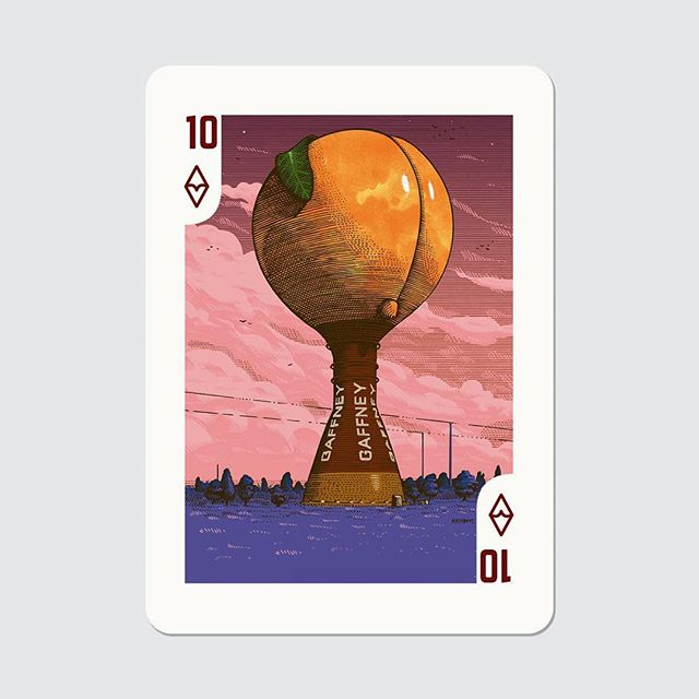 It's now official: for the #houseofcards seasons 1-4 boxset release and in concomitance with the scary USA #election day, @lwlies and @sonypicturesuk are releasing a limited deck of playing cards featuring also my work among the others. Here's my #peachoid for the deck 🍑🇺🇸💀. - #illustration #cards #deck #marcellocrescenzi #election2016 #dvd #bluray #littlewhitelies #penandink #linework #sunset #southcarolina #gaffney #potus #tvseries #diamonds #peach #sky #etching #engraving #artwork #cinema