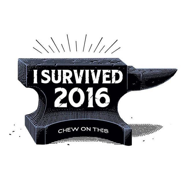 I finally can legitimately say i survived #2016 ! #penandink #illustration #illustrator #italian #nye #capodanno #annohorribilis #artwork #anvil #italy #marcellocrescenzi #illustration #potd #linework #etching #detail #typography #design #nye2016 #survivor #italian #cheers #graphic #auguri #holidays