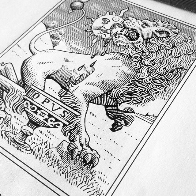 An #alchemy spot illustration in progress for a #poster... It's based on the classic VI Century #iconology of the Green Lion devouring the Sun, meaning the Philisophical #Mercury melts the Gold with Aqua Regia sublimating it in a purest form. Only acting in a noble way we can distill the excellent from the good 🌞