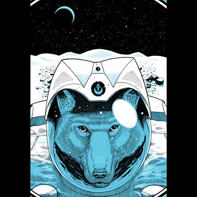 "Another artwork i did last year for @technine_europe 2017 #snowboard decks collection, the ""Powder Wolf"" is a #retro sci-fi themed deck inspired by #space mission patches.  Art direction by @ilsenorlopez 🏂🌕🐺"
