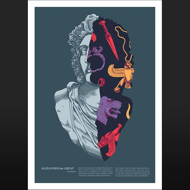 My collaboration #poster with the amazing @alessandro_cripsta is about to be printed in a very limited run of signed and numbered #giclee prints. It features a sectioned #portrait of Alexander the Great containing elements both from #greek and #persian cultures, as a symbol of bridging worlds. Something we're very into and a message important today more than ever. This #collaboration has been a blast, can't wait to have it in my hands.