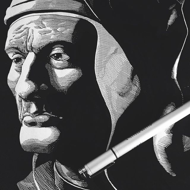 Phase 2 of my #workinprogress for @id.dante #2017 is a bigger #portrait of #Dante Alighieri, based on forensics papers about the poet's remains and several articles by historians about his #iconography as it has been narrated by his contemporaries. Sources are vital for my process and i love chasing them. ✒️📖