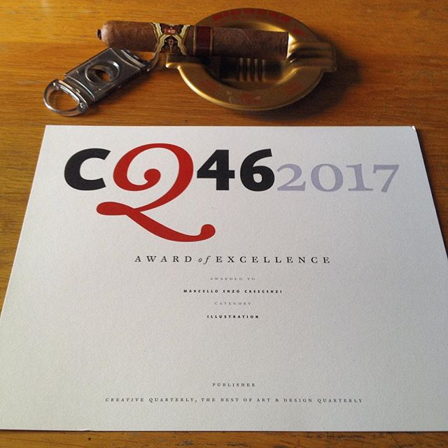 Just received my prestigious @cqjournal 2017 Award of Excellence for illustration. It makes this lonely monday of August, working while everyone is on holidays, feel allright. Thanks everyone, I deserve a good smoke now 🍻🏆