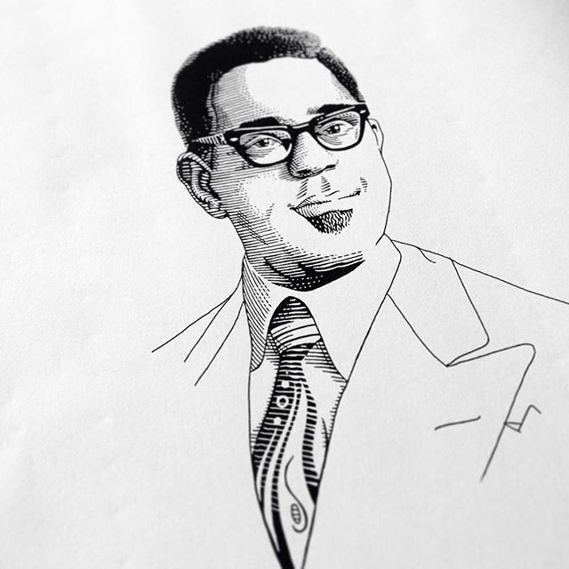 Last jazzy portrait #workinprogress, I'll share the finished series very soon. 🎺🎶 . #dizzygillespie #jazz #portrait
