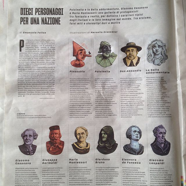 Today I'm on #Robinson for @larepubblica with ten mini #portraits of italian figures to represent national vices and virtues. Art Direction by @ffranchi