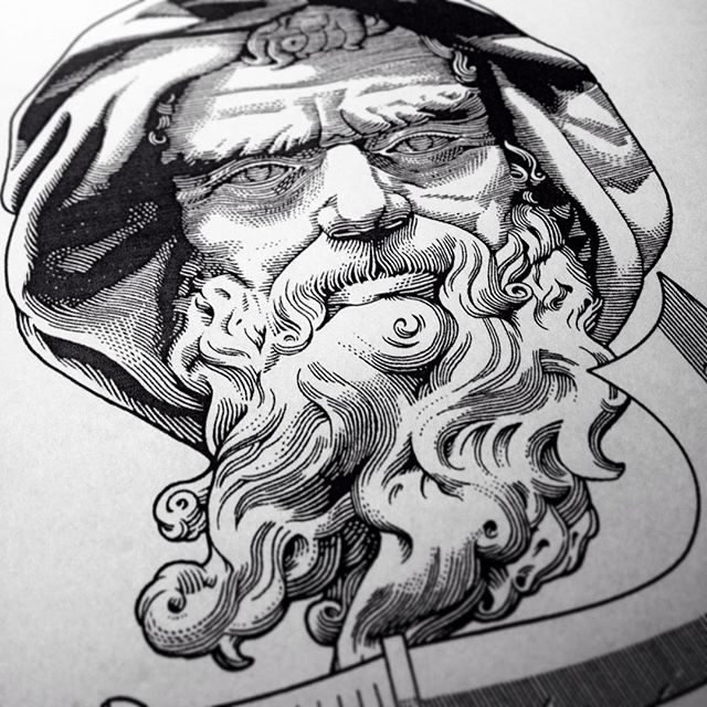 #workinprogress for a god #Saturn 's portrait I'm developing for my annual #holiday greeting cards, soon to be printed. #wip #xmas ❄️🎄