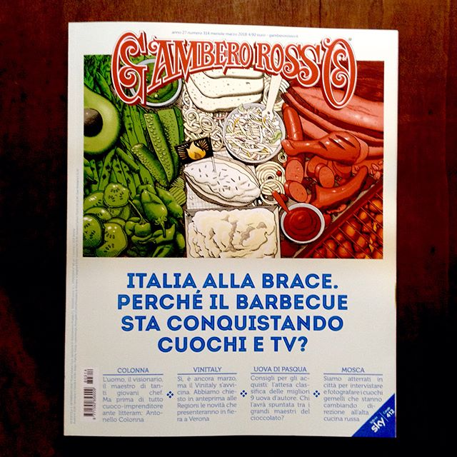 The first report on #barbecue in #Italy, #illustration on the cover of the #March issue of @gambero_rosso as well as inside double page and spot illustrations 🇮🇹🔥🍗🍖🍔 Such a honor for a long time #bbq enthusiast like me.