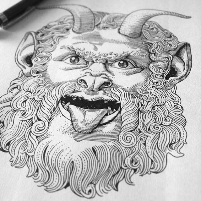 #satyr cuteness #wip for the #metal friends at @midniteclv 👹 Loosely based on the famous Satyr Mask (marble, 2nd Century CE) hosted at @museicapitolini