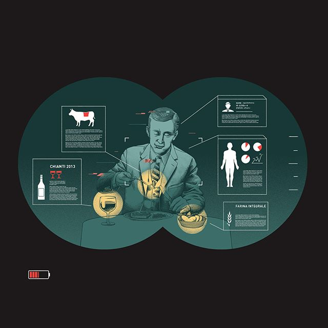 My opening illustration and spots on the last issue of @gambero_rosso #magazine for a piece about restaurant reservation apps, client's #privacy and the risks of #profiling in the #food industry. (SWIPE) 🔭👤📇
