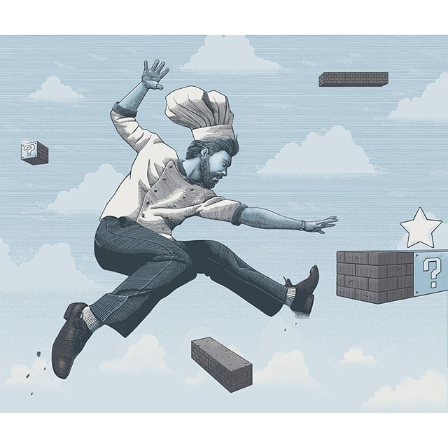 On the new issue of @gambero_rosso magazine my opening Illustration and spots for a piece about the missed opportunities in contemporary #cuisine ... With a nod to #supermario 👾👎🍝
