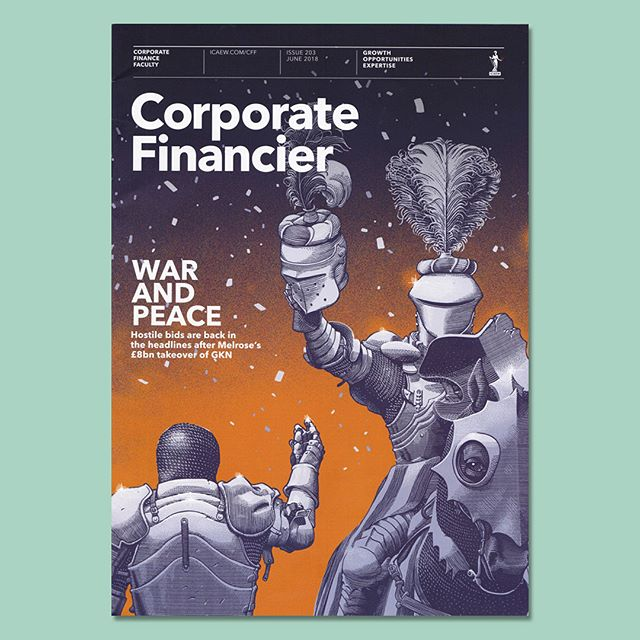 ➡️➡️SWIPE➡️➡️ My cover and inside contributions for the last issue of #CorporateFinancier about hostile takeovers in #finance . Everything has been #medieval tournament themed to match the topic 🏰🐴🎉 AD by #DaniloFieschi @progressivedesign