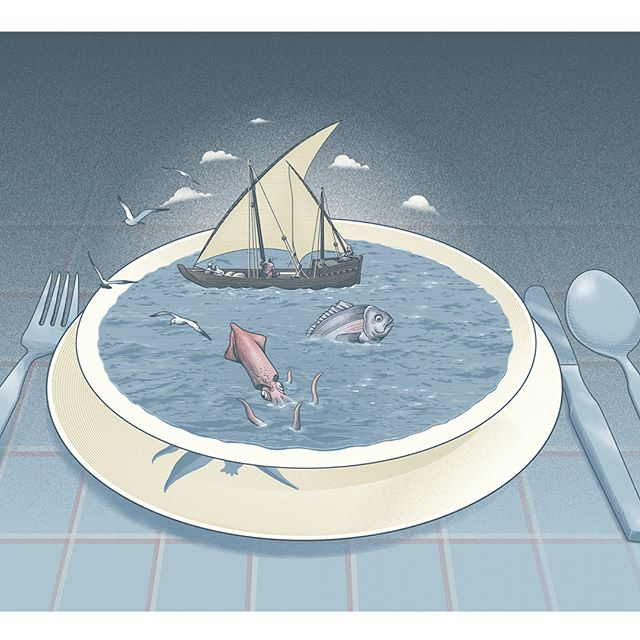 On August issue of @gambero_rosso my double page illustration and spots for an article about the use of sea #water in cooking since ancient times.