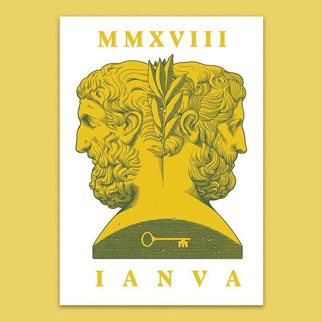 "Happy holidays!  Like every year my #holiday cards are ready. Every year i homage a non-catholic incarnation of the #December festivities. This year it's #Ianua, ""door"" in latin and it refers to  #Janus, the elder roman divinity, father of Saturn, and the keeper of passages, the guardian of changes. When the new year started he opened the doors (""ianuae"", from which January is named) to it, leaving the old one behind, embodying the eternal cycle of past and future with his two heads looking in opposite directions. Happy festivities! 🌗🚪🌓"