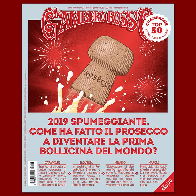 Happy New Year! On the current issue of @gambero_rosso cover and inside illustrations for a special about #Prosecco being the no.1 sparkling wine in the world. Party safely and see you in #2019. 🎉🎩📅