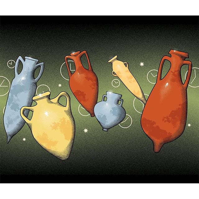 Out now on @gambero_rosso my set of illustrations for an insight about the ancient use of #amphoras in contemporary seasoning and ageing for #food and beverages. Double spread opening page and spot illustrations ⚱️🕐🏺🕚