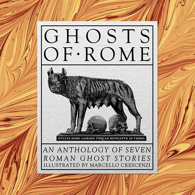 "Between the current, pressing, deadlines i've managed to design the small label for the #ghostsofrome project, to be applied on the marbled paper folders which will collect the seven prints. Latin inscription below the she-wolf, symbol of Rome, means ""The tears of men cannot bring the dead back from the darkness"". The couple of #skulls below her are an obvious nod to Romolus and Remus. Next is a #wip shot of the process. 🐺 💀💀"