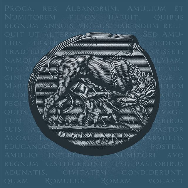 Happy birthday, Rome!  You'll survive even this dark times, as You did countless times before. - A roman coin depicting the fundative Myth of Romolus and Remus with the She-Wolf; from a didramma dating 266 BC. Words in background are from Origo Gentis Romanae by Aurelius Vittore, 300 AD - #auguriroma #natalediroma