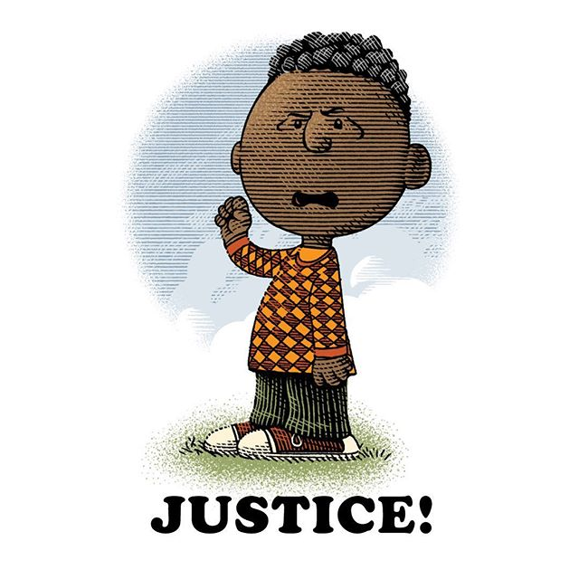 Franklin Armstrong made his debut as a Peanuts comic strip character in the hot summer of 1968, in the middle of the huge social turmoil and racial protest of the time, carrying an unwritten message that spoke volumes. Too little has changed since then, I see. But no sermons here: I simply drew a little homage to our pal Franklin, to invite You donate to the @naacp, sign their #georgefloyd petition and invite You to be always the decent people on the good side of history ❤️